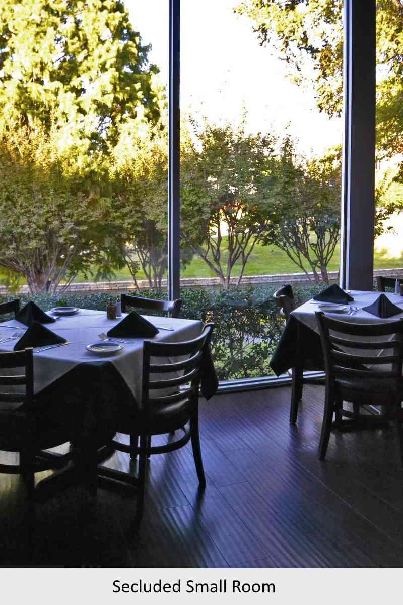 secluded small room with a view for private dining
